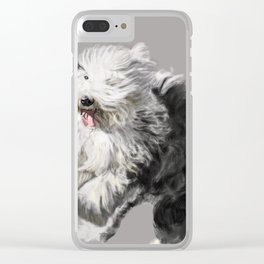 Old English Sheepdog On the Move Clear iPhone Case