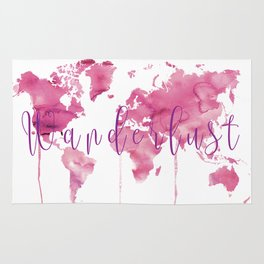 World Map Wanderlust - Pink Watercolor Rug