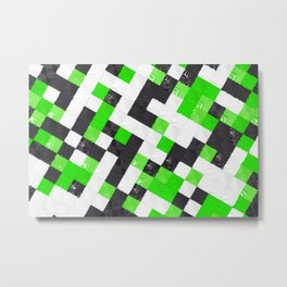 Pattern of black, white and green cubes Metal Print