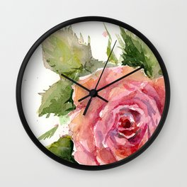 Red Rose Watercolor Pink Rose Flower Floral Art Wall Clock