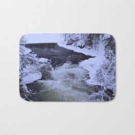 Water Fall In Winter Bath Mat