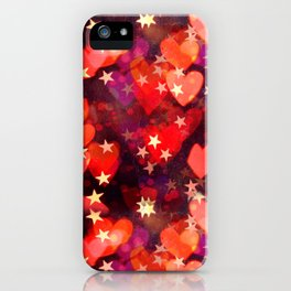 Hearts and stars Valentine bokeh lights sparkle - love heart red glam iPhone Case