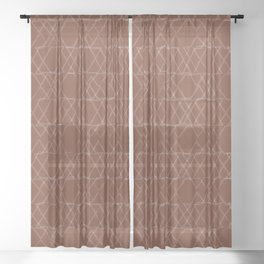 geo translucent-burnt orange Sheer Curtain