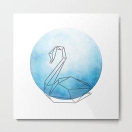 Geometric Swan In Thin Stipes On Circle Background Metal Print