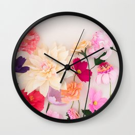 Crepe paper flowers Wall Clock