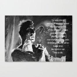 Like tears in rain - black - quote Canvas Print