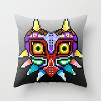 majoras mask Throw Pillows featuring Majoras Mask /Pixel /zelda by tshirtsz