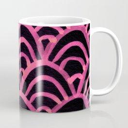 Handpainted Scallops Mermaid Scales Pink and Black Coffee Mug