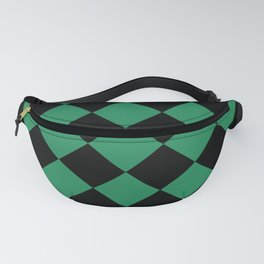 Emerald Green Checkered Pattern Fanny Pack