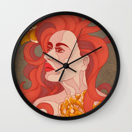 Lady with red hair Wall Clock