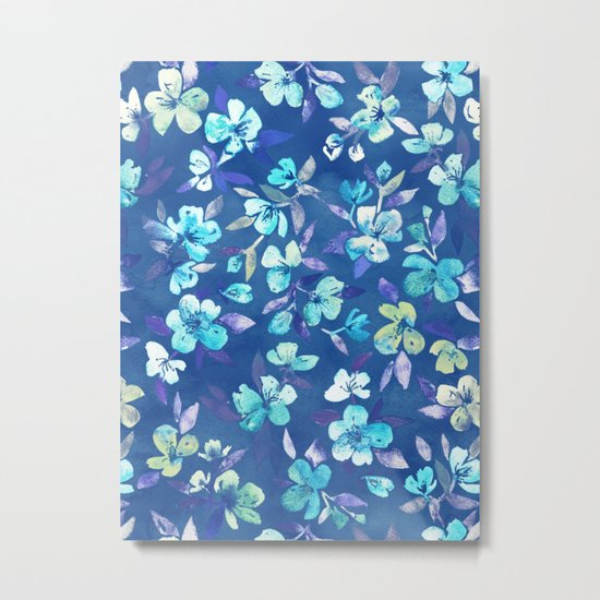 Grown Up Betty - blue watercolor floral Metal Print