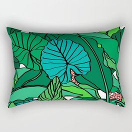 Jungle Leaves Illustrated in White Rectangular Pillow