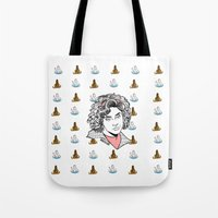clueless Tote Bags featuring Virgin Who Can't Drive by Maritza Lugo