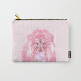 Lion Chewing Bubble Gum in Pink Carry-All Pouch