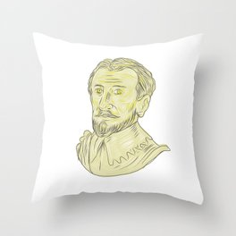 15th Century Spanish Explorer Bust Drawing Throw Pillow