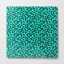 Aqua Leopard Spots Animal Print Pattern Metal Print