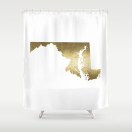 maryland gold foil state map Shower Curtain