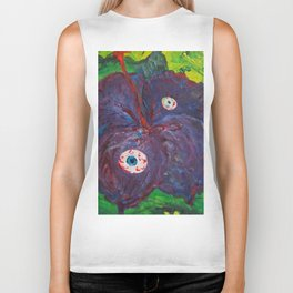 purple hibiskus surreal flower paint Biker Tank