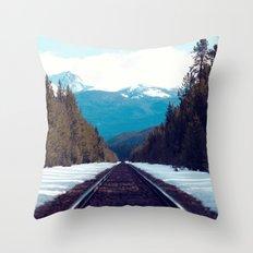Train to Mountains Throw Pillow