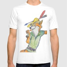 Robin Hood  White Mens Fitted Tee MEDIUM