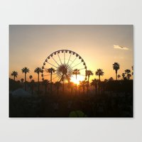 coachella Canvas Prints featuring Coachella Sunset by Lauren Haney