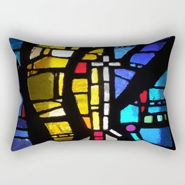 Stained Glass with Cross Rectangular Pillow