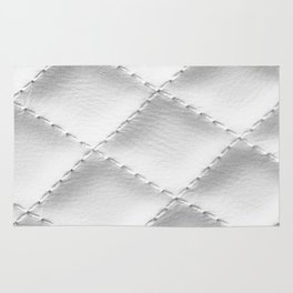 Quilted leather effect (white) Rug