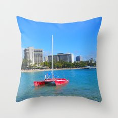 Oahu: Little Red Boat Throw Pillow