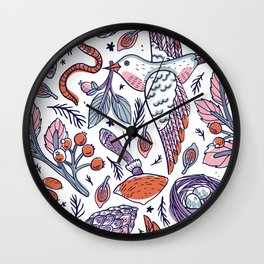 White Birds Pattern Wall Clock