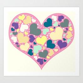 Hearts and Dots Art Print