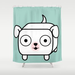 Pitbull Loaf - White Pit Bull with Floppy Ears Shower Curtain