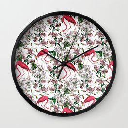 Vintage & Shabby Chic - Retro Flamingo and Lily Pattern Wall Clock