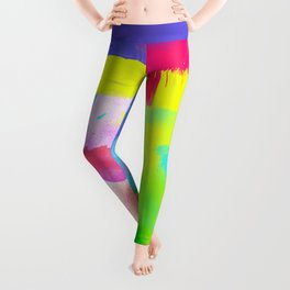 Neon Emotion | Abstract Stripes Neon Artistic Watercolor Pattern Leggings