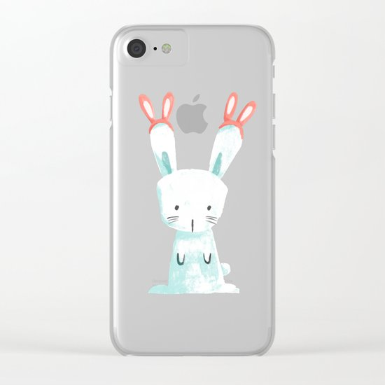 Four Eared Bunny Clear iPhone Case