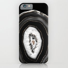 Gray Black White Agate with Gold Glitter #5 #gem #decor #art #society6  iPhone Case