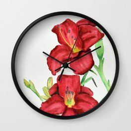 Red Watercolour Lillies Wall Clock
