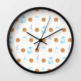 Milk and Cookies Pattern on Cream Wall Clock