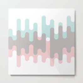 Pastel Pink ,Gray and Blue Liquid Shape Metal Print