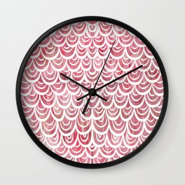 Watercolor Mermaid Rosy Garnet Wall Clock