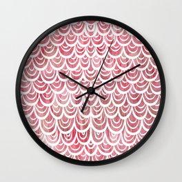 Watercolor Mermaid Rosy Garnet Wall Clock