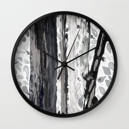 Rainbow Eucalyptus Graffiti artist tree from shedding bark South Pacific Black and White Night Wall Clock