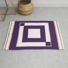Modern light lavender purple gold contemporary geometric borders Rug