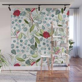 Eucalyptus Kangaroo paw watercolor floral design Wall Mural