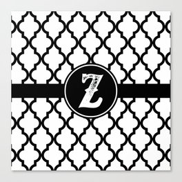 Black Monogram: Letter Z Canvas Print