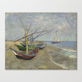 """Vincent Van Gogh """"Fishing boats on the Beach at Les Saintes-Maries-de-la-Mer"""" Canvas Print"""