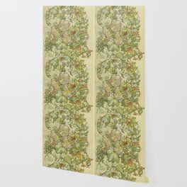 """Alphonse Mucha """"Printed textile design with hollyhocks in foreground"""" Wallpaper"""