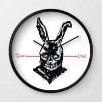 donnie darko Wall Clocks featuring Donnie Darko: FEAR • FRANK • LOVE by Stephan Brusche