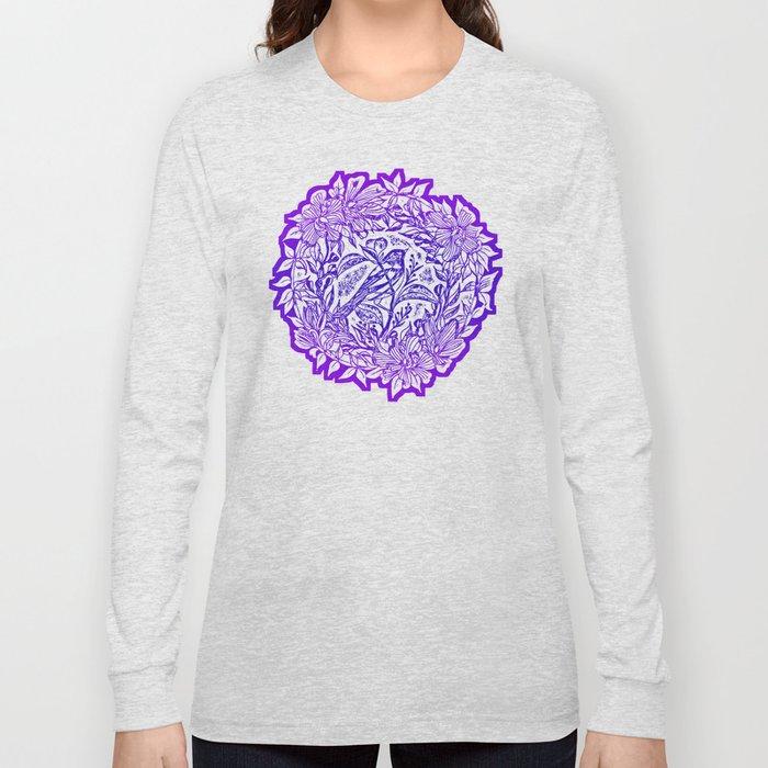 Songbird In Magnolia Wreath, Purple Linocut Long Sleeve T-shirt