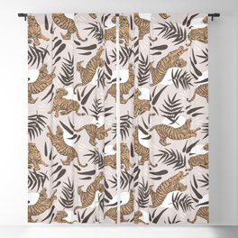 Tigers and Bamboo Leaves Blackout Curtain