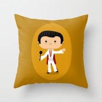 elvis presley Throw Pillows featuring Elvis Presley by Sombras Blancas Art & Design